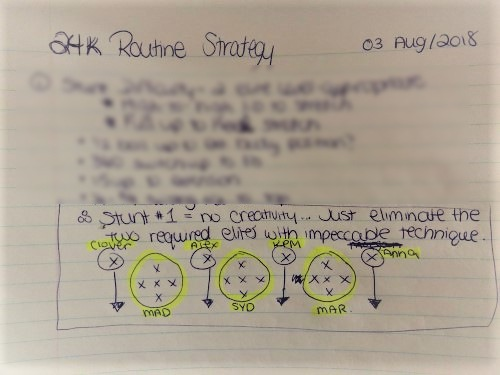 cheer routine strategy